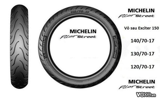 Vỏ michelin 14070-17 gắn bánh sau xe exciter 150 có được không - 2